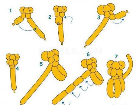 Схема лебедя из шариков