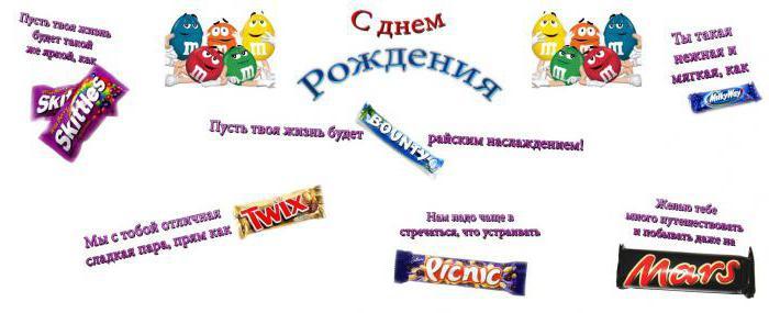 Плакат поздравление с днем рождения с шоколадками 109