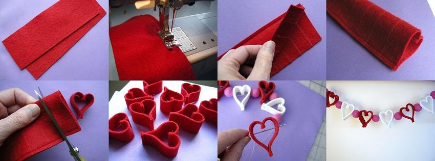 Как сделать гирлянду из сердечек из фетра